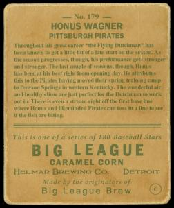 Picture, Helmar Brewing, R319-Helmar Card # 179, Honus WAGNER (HOF), Portrait, Pittsburgh Pirates