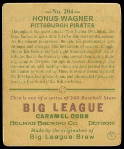 Picture, Helmar Brewing, R319-Helmar Card # 204, Honus WAGNER (HOF), Standing, Pittsburgh Pirates