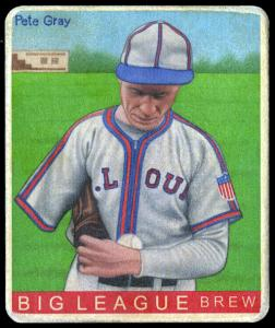 Picture of Helmar Brewing Baseball Card of Pete Gray, card number 357 from series R319-Helmar Big League