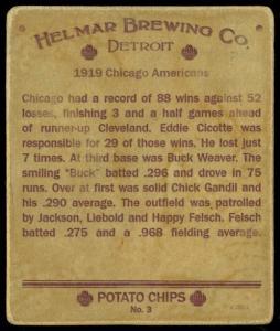 Picture, Helmar Brewing, R321-Helmar Card # 3, Eddie Cicotte; Happy Felsch; Chick Gandil; Buck Weaver;, AL AMERICAN, Chicago White Sox